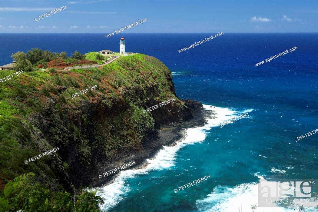 Stock Photo: Kilauea Lighthouse, Kilauea Point National Wildlife Refuge; Kauai, Hawaii, United States of America.