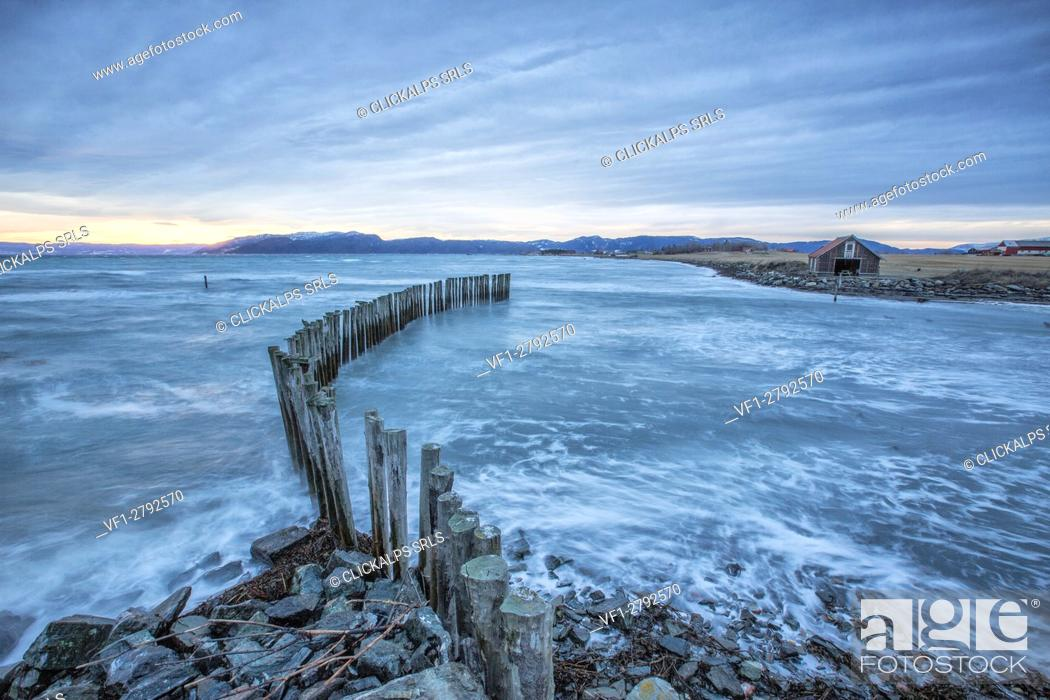 Photo de stock: Waves on the icy sea Kystensarv Trøndelag Norway Europe.