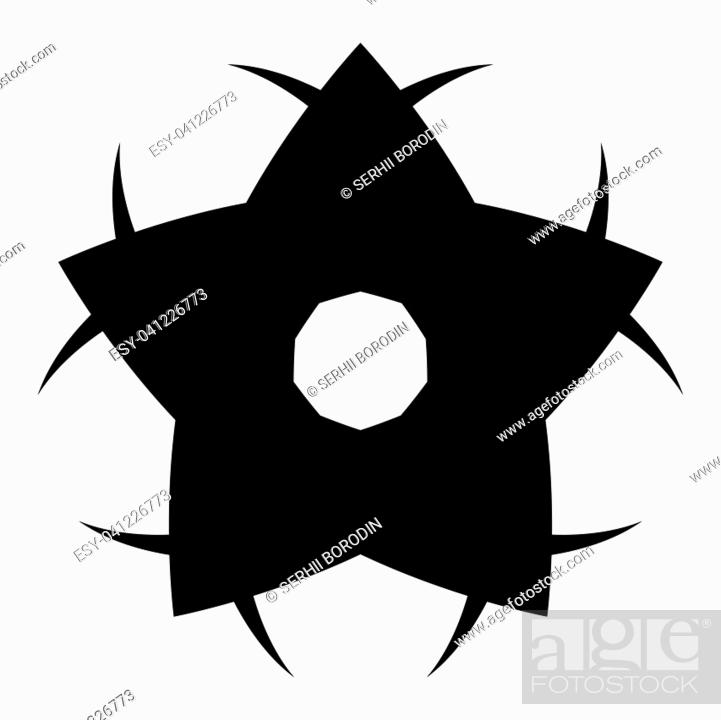 Stock Vector: Flower it is the black color icon .