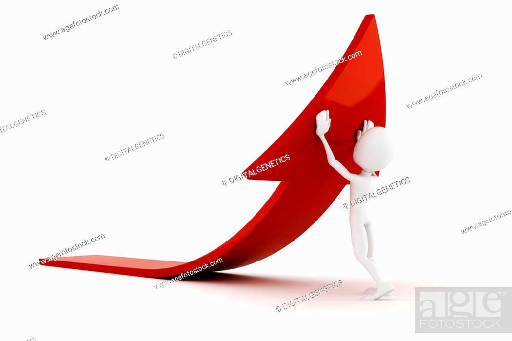 Stock Photo: 3d man pushing an arrow.
