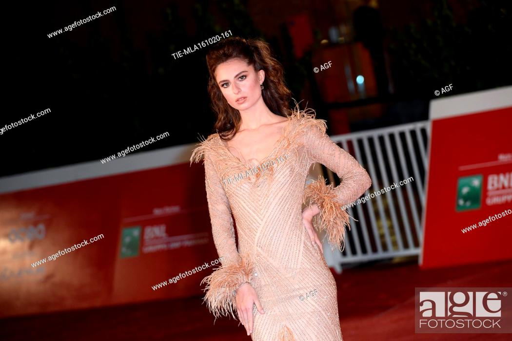 """Stock Photo: Nicole Macchi attends the red carpet of the movie """"""""Supernova"""""""" during the 15th Rome Film Festival on October 16, 2020 in Rome, Italy."""