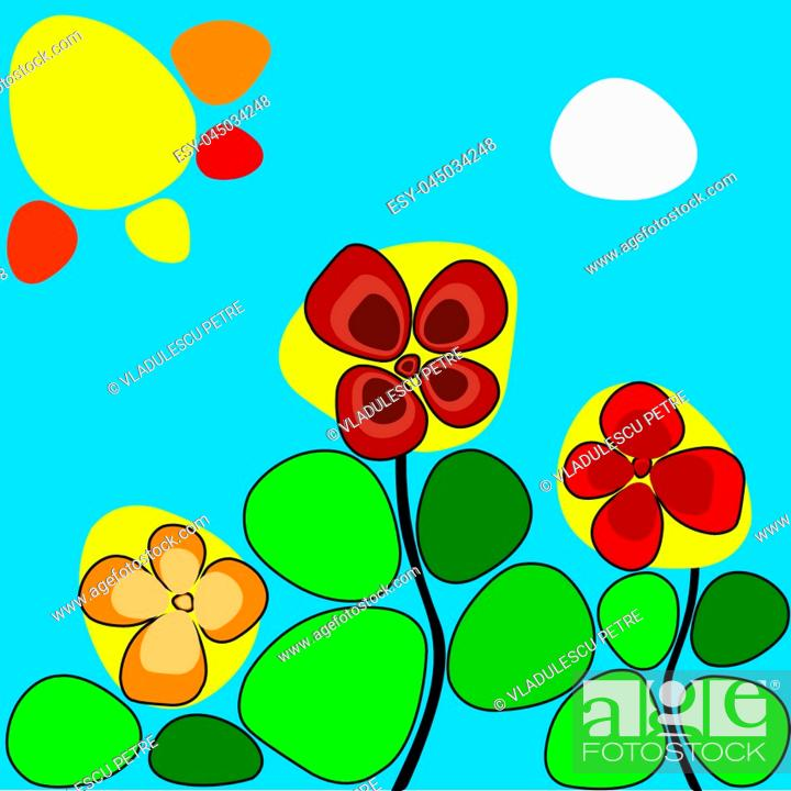 Vector: flowers under the hot sun.