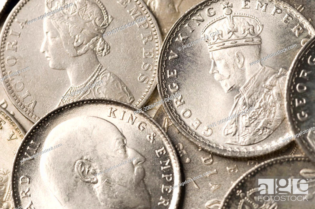 Stock Photo: Close-up of Indian silver coins.