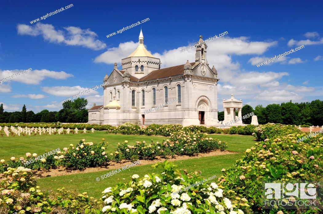 Stock Photo: France, Pas de Calais, Ablain Saint Nazaire, necropole de Notre Dame de Lorette, Basilica and military graves in the cemetery of the first world war where lies.