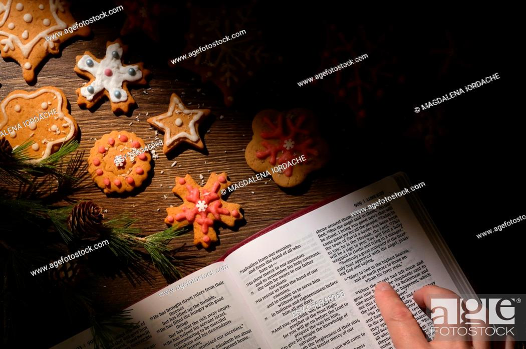 Stock Photo: Gingerbread Christmas Cookie and Hope from Bible.