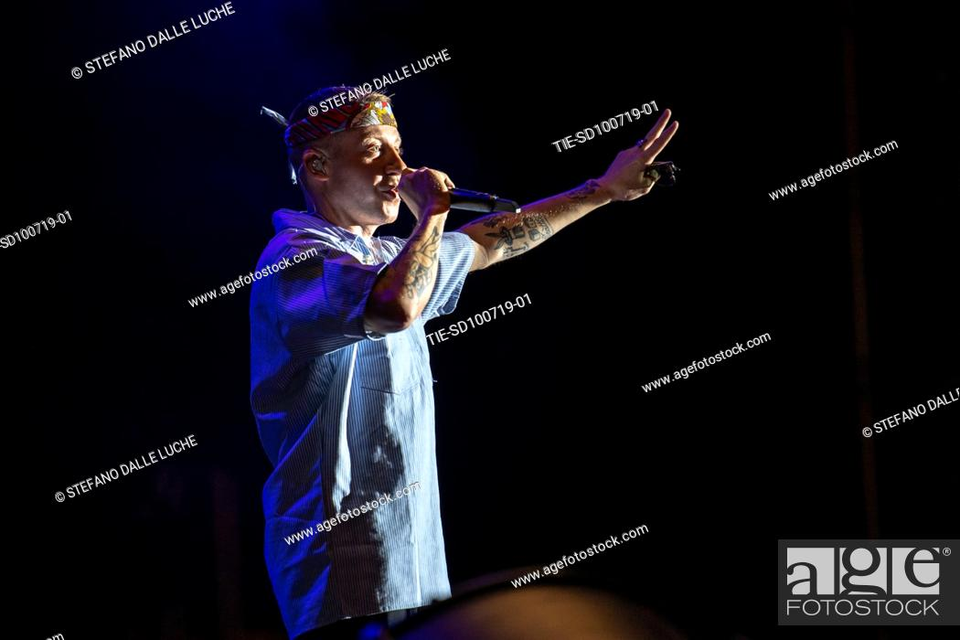 Stock Photo: Singer Macklemore in concert at the Lucca Summer festival, Lucca, ITALY-09-07-2019.
