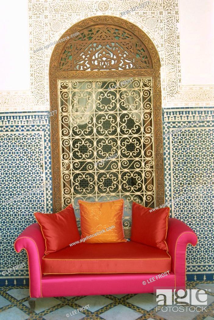 Stock Photo Sofa In Courtyard Of Riad Enija The Medina Marrakech Morocco