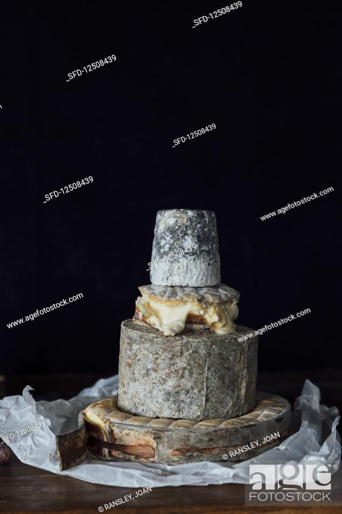Stock Photo: Uk cheese - Rollright (Cotswolds), Fellstone (Cumbria), Winslade (Hampshire) and Dorstone (Herefordshire).