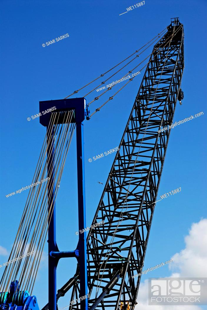 Stock Photo: Crane on clear sky, at harbour, Cape Town, South Africa.
