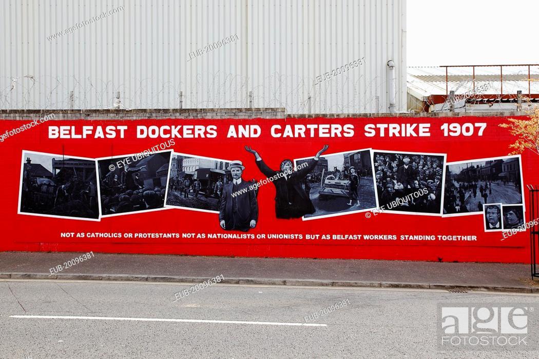 Stock Photo: Falls Road, Mural commemorating the Dockers strike of 1907.