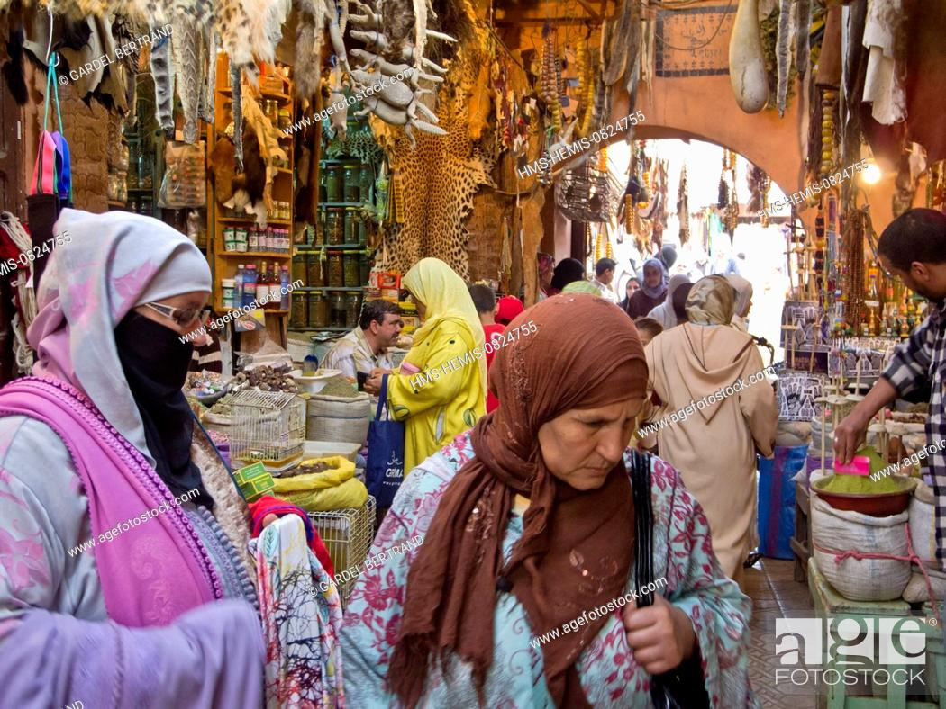 Stock Photo: Morocco, Upper Atlas, Marrakech, imperial city, the medina listed World Heritage by UNESCO, the souks.