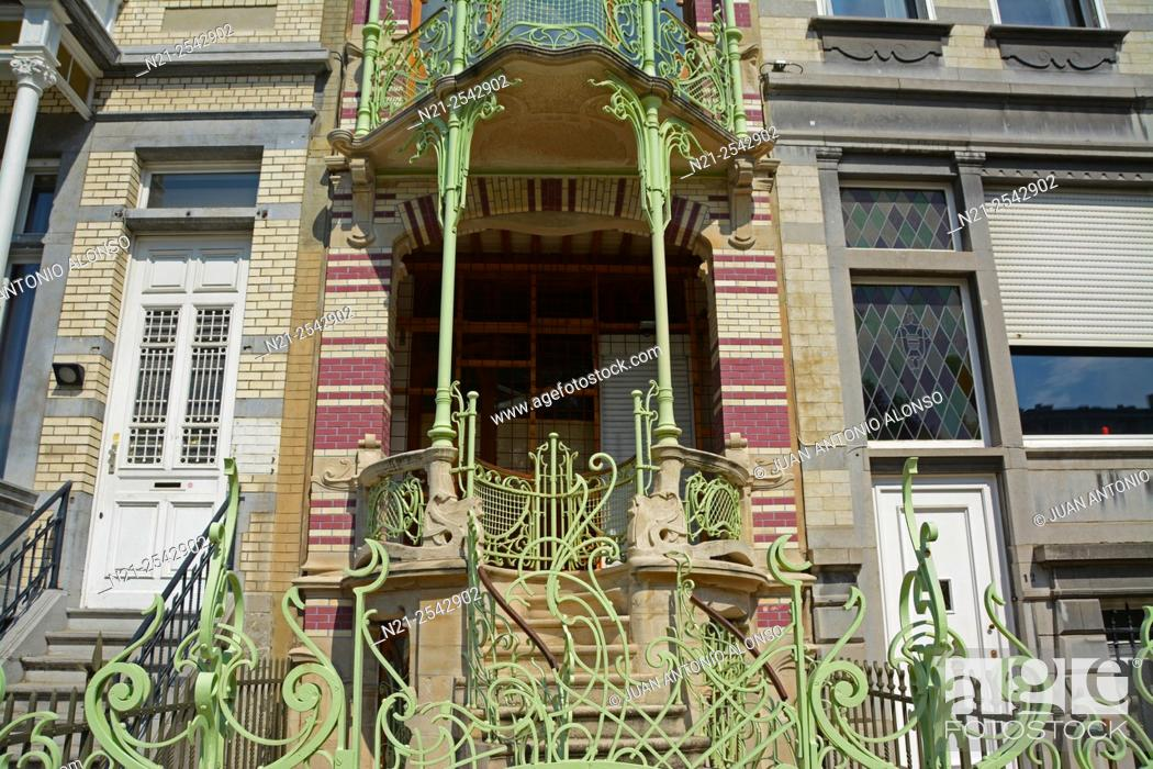 Stock Photo: Detail of Gustave Strauven's Art Nouveu style Maison Saint-Cyr. Brussels, Belgium, Europe.