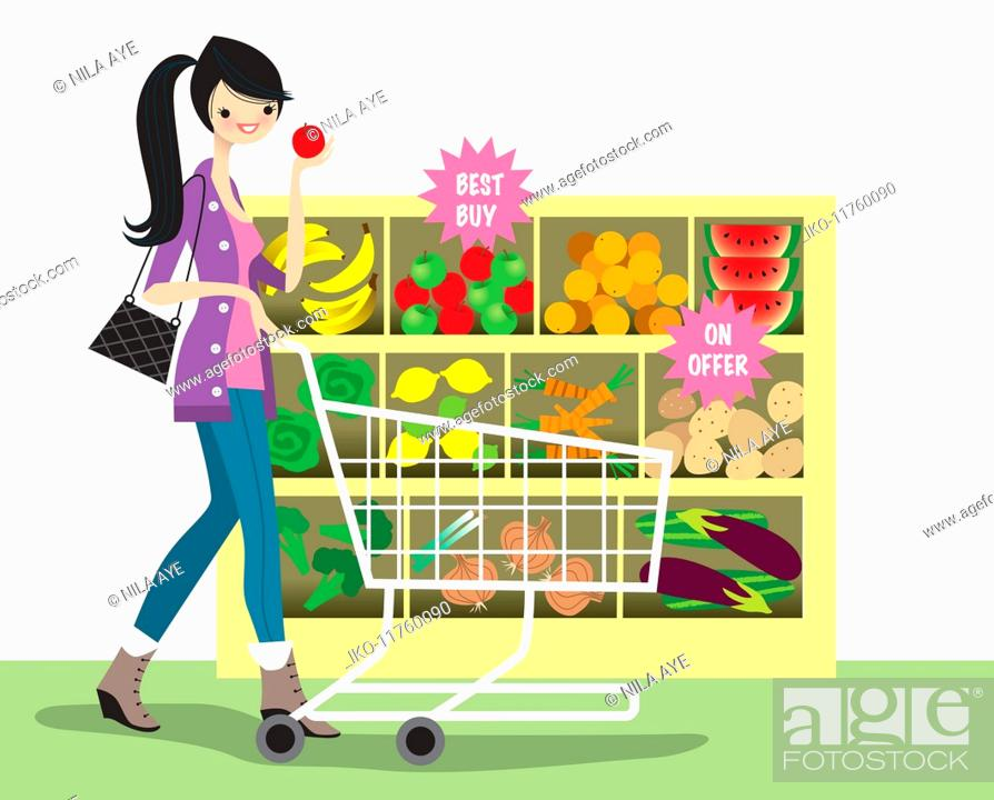 Stock Photo: Young woman shopping for bargain fruit and vegetables in supermarket.