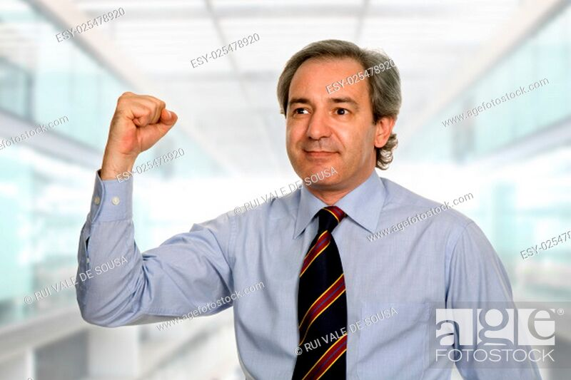 Stock Photo: successful business man winning, at the office.