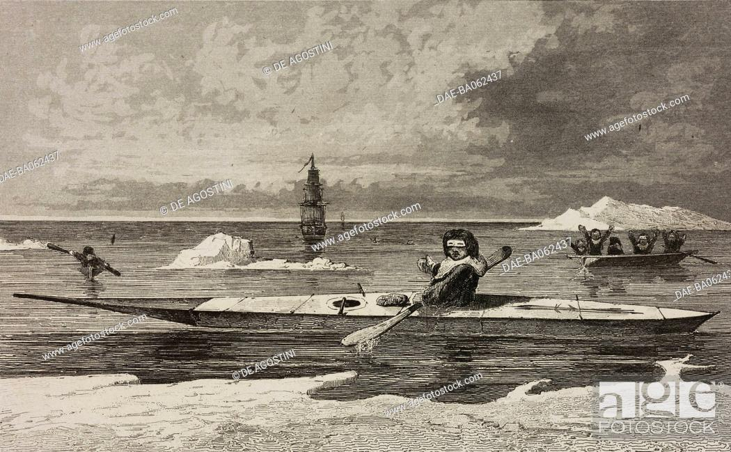 Imagen: Boats with paddle, Greenland, circumpolar regions, engraving by Vernier from Chili, Paraguay, Buenos-Ayres, by Cesar Famin, Patagonie.