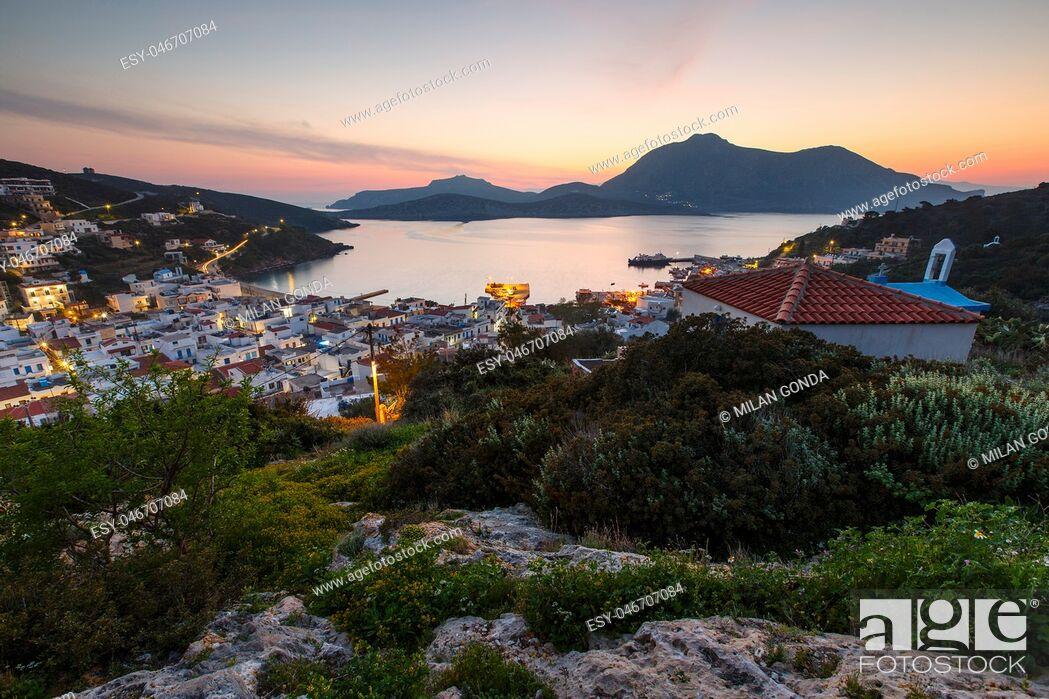 Stock Photo: View of the main village of Fourni island, Greece. .