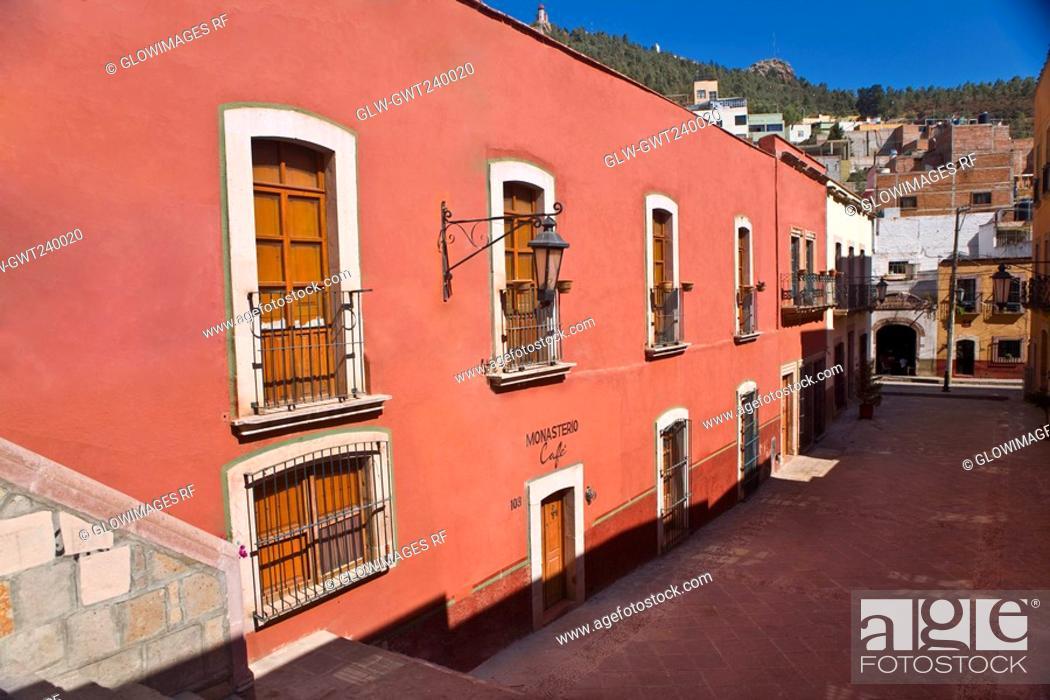 Stock Photo: Building along a street, Zacatecas State, Mexico.
