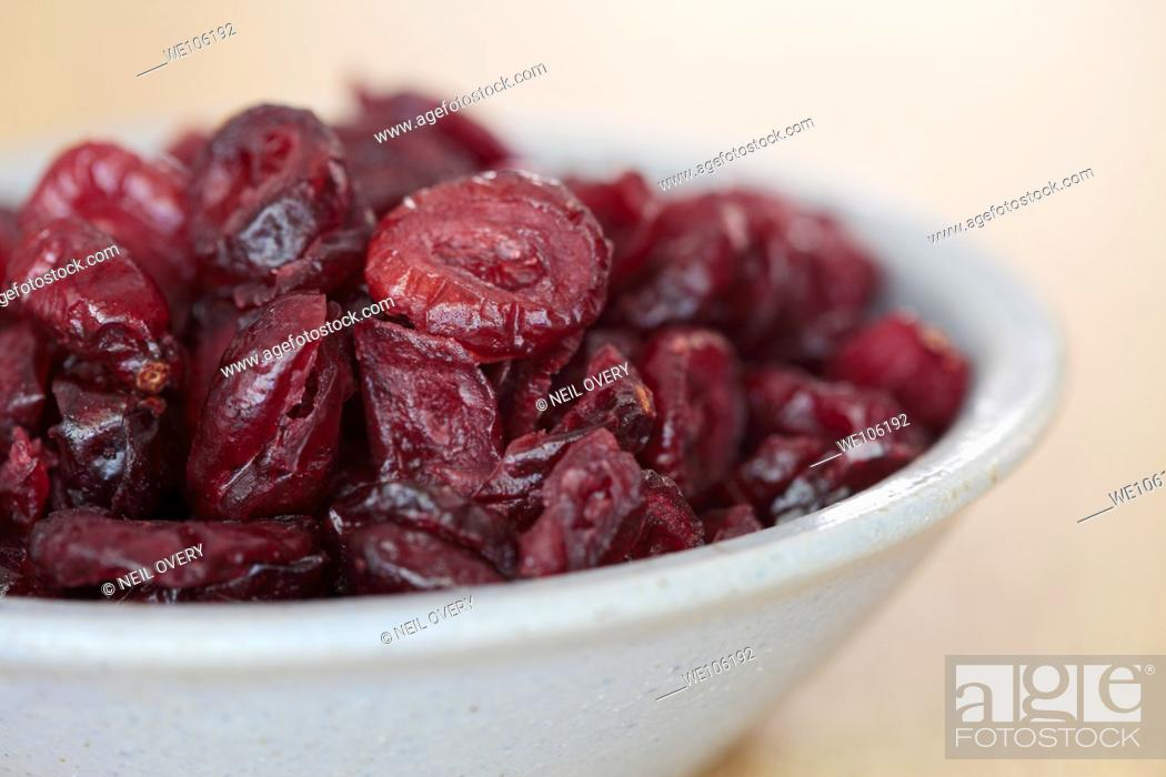 Stock Photo: Dried Cranberries in a Bowl.