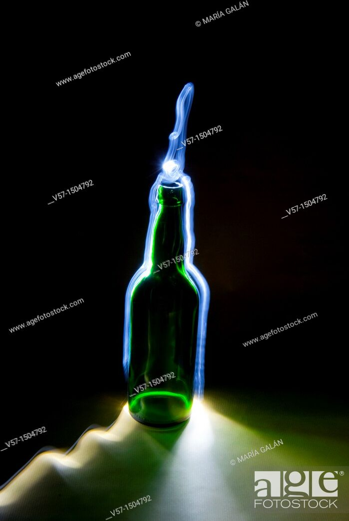 Stock Photo: Light-painting with a bottle.