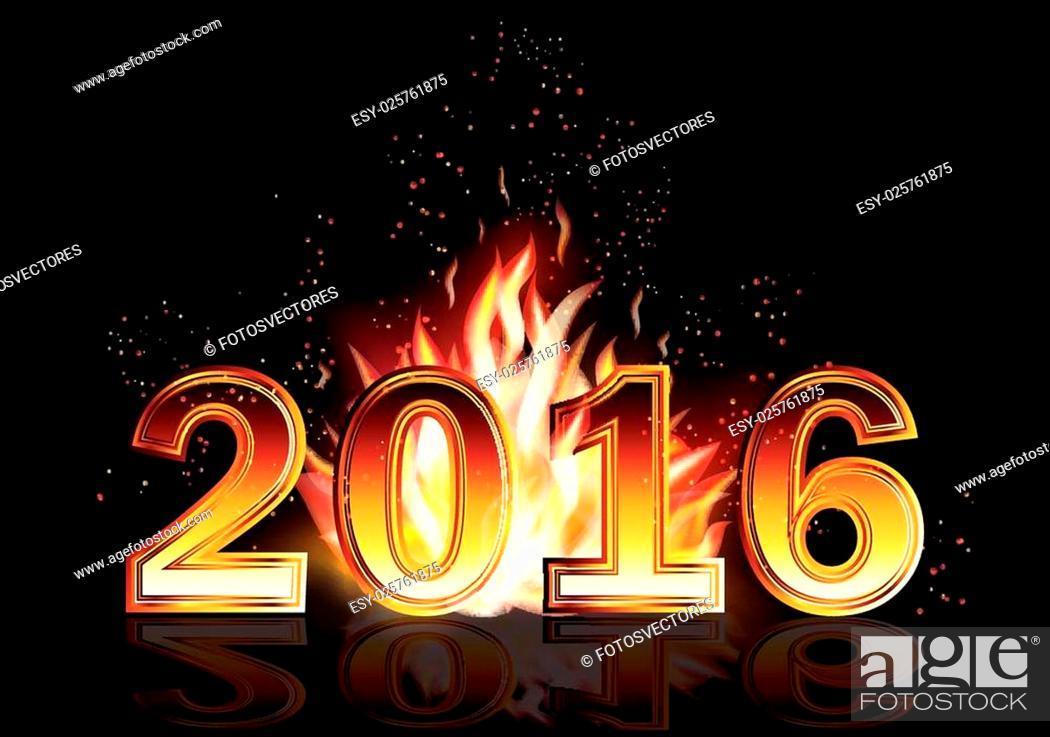 Stock Vector: Hot new 2016 year fire banner, vector illustration.
