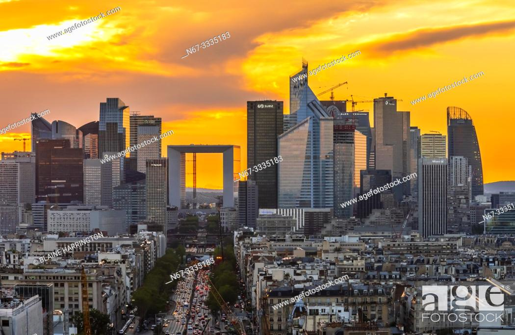 Stock Photo: Avenue de la Grande Armee leading to La Défense, which is a major business district located three kilometres west of the city limits of Paris.