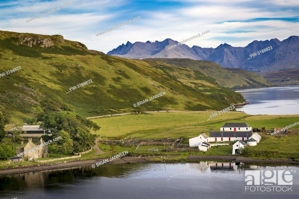 Stock Photo: Evening over sheep farm, Gesto Bay, and the Black Cuillins beyond, Trotternish Peninsula, Isle of Skye, Scotland, UK.