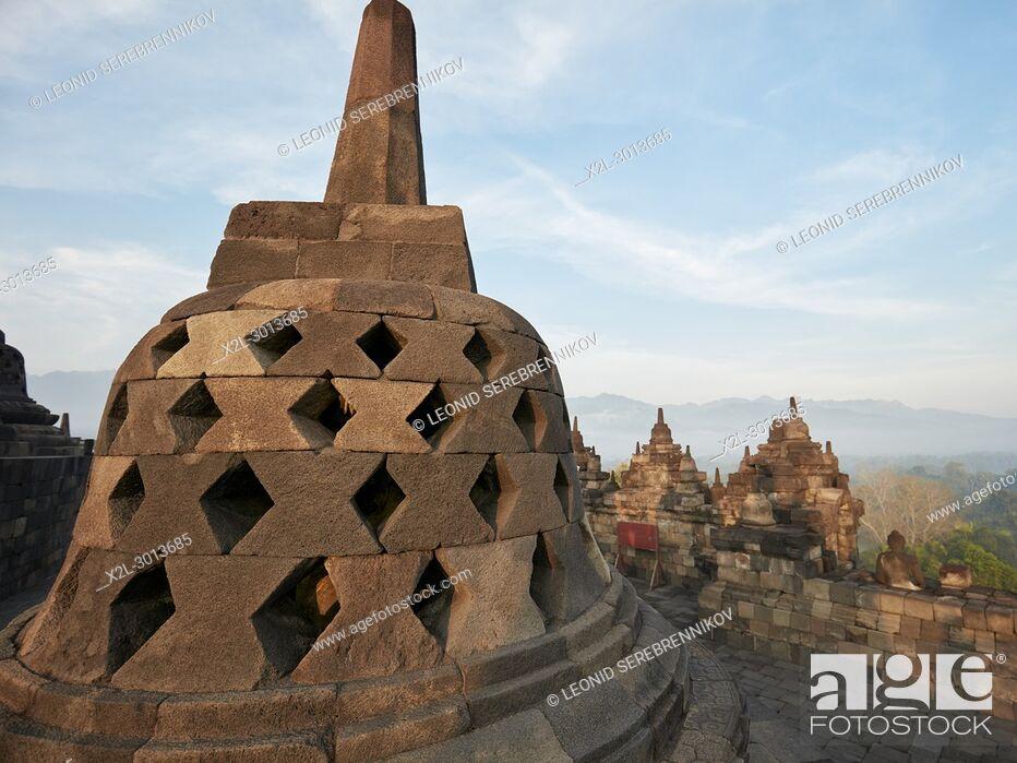 Stock Photo: Rhombus holed stupa in Borobudur Buddhist Temple. Magelang Regency, Java, Indonesia.