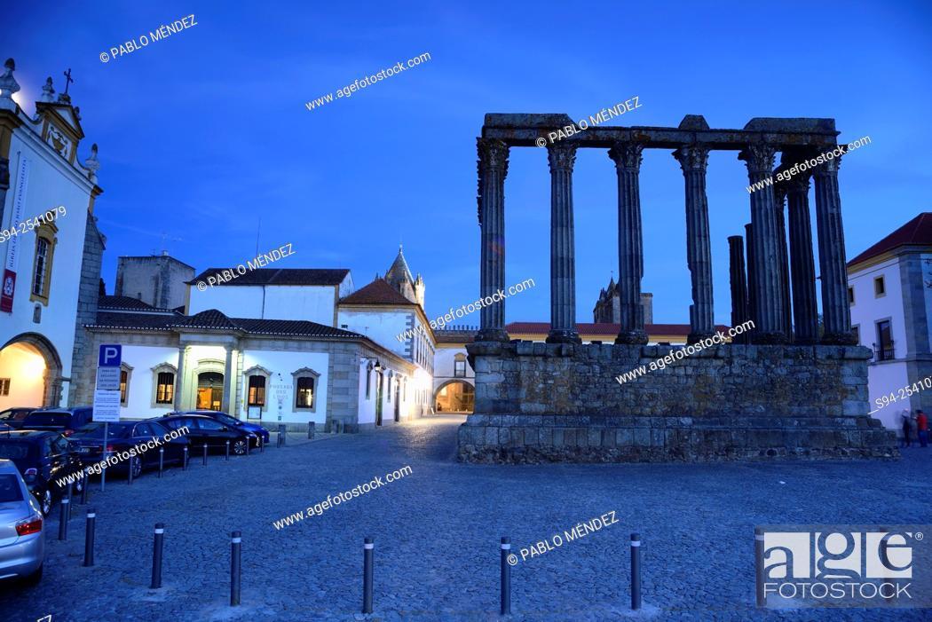 Stock Photo: Diana's temple in Evora, Portugal.