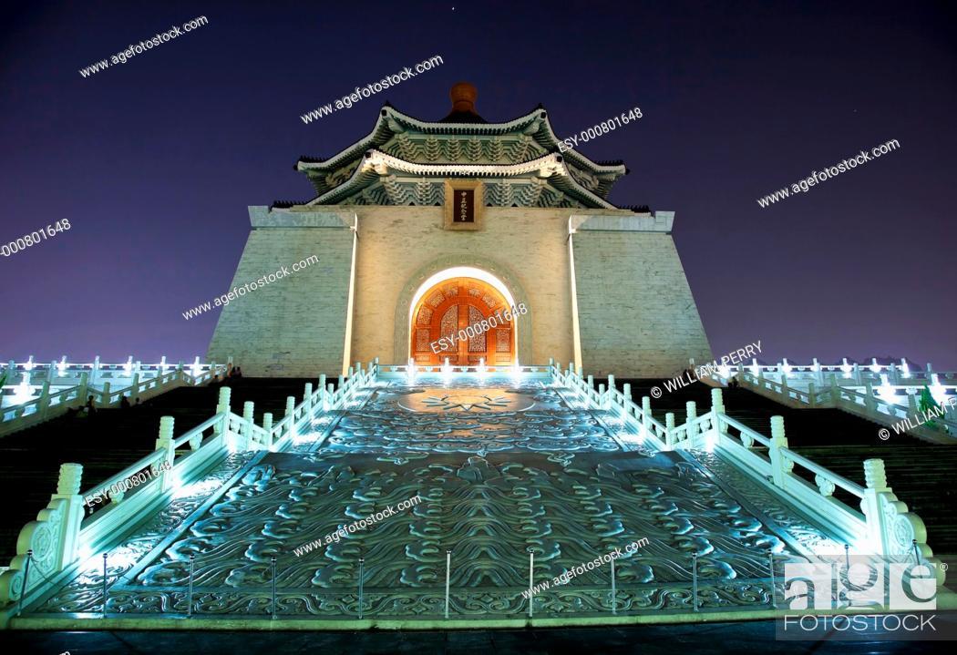 Stock Photo: Facade Door Sculpture Chiang Kai-Shek Memorial Monument Hall Taipei Taiwan at Night Stars.