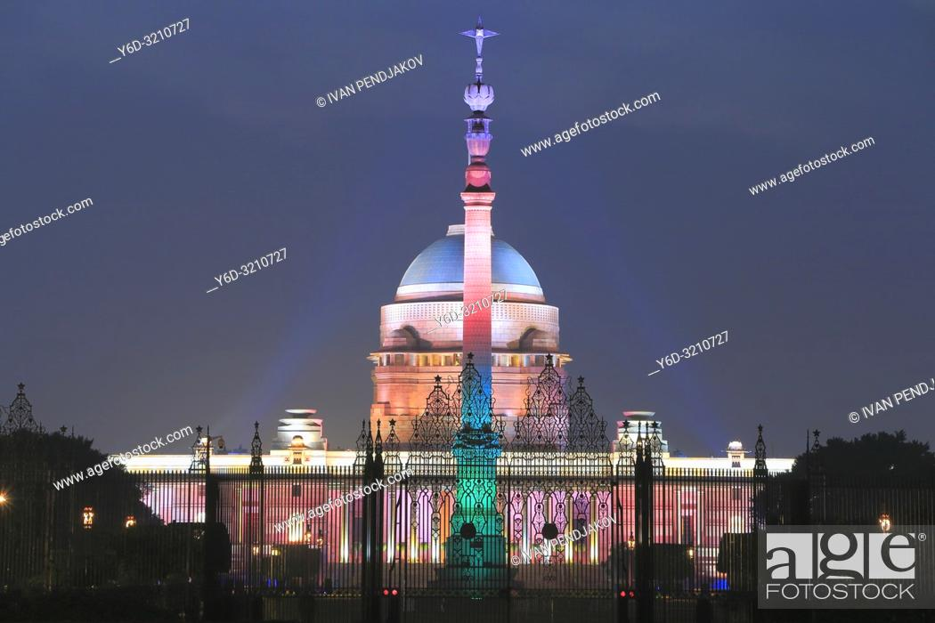 Stock Photo: Rashtrapati Bhavan at Night, New Delhi, India.