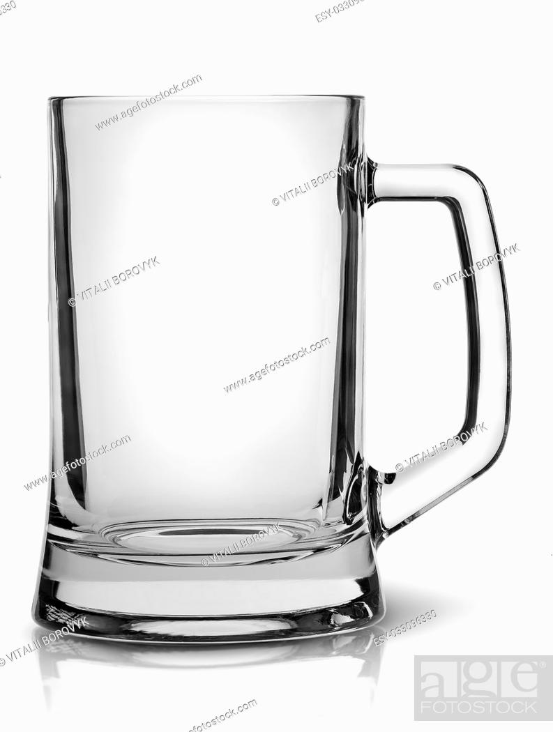 Stock Photo: In front empty beer mug isolated on white background.