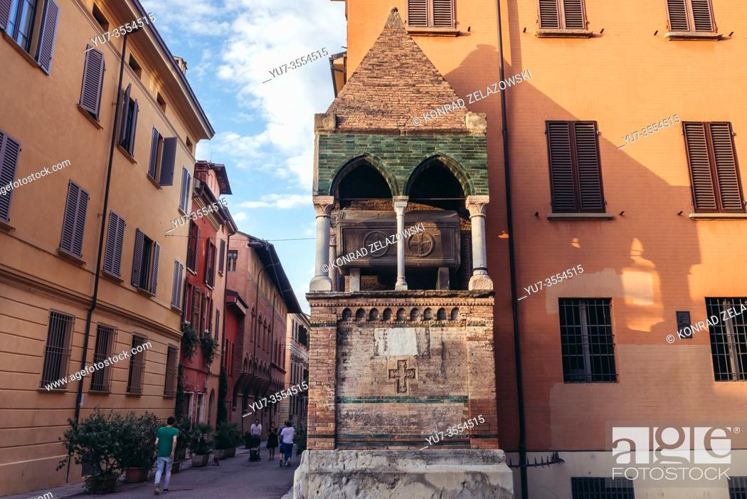 Stock Photo: Tomb of Egidio Foscherari on Saint Dominic square in Bologna, capital and largest city of the Emilia Romagna region in Northern Italy.