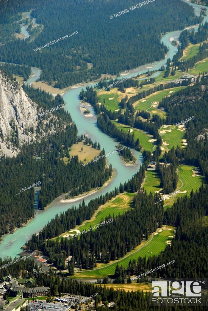 Stock Photo: Aerial view of Bow River and Fairmont Banff Springs Golf Course Banff Alberta Canada Canadian Rockies Canadian Rocky Mountains Banff National Park.