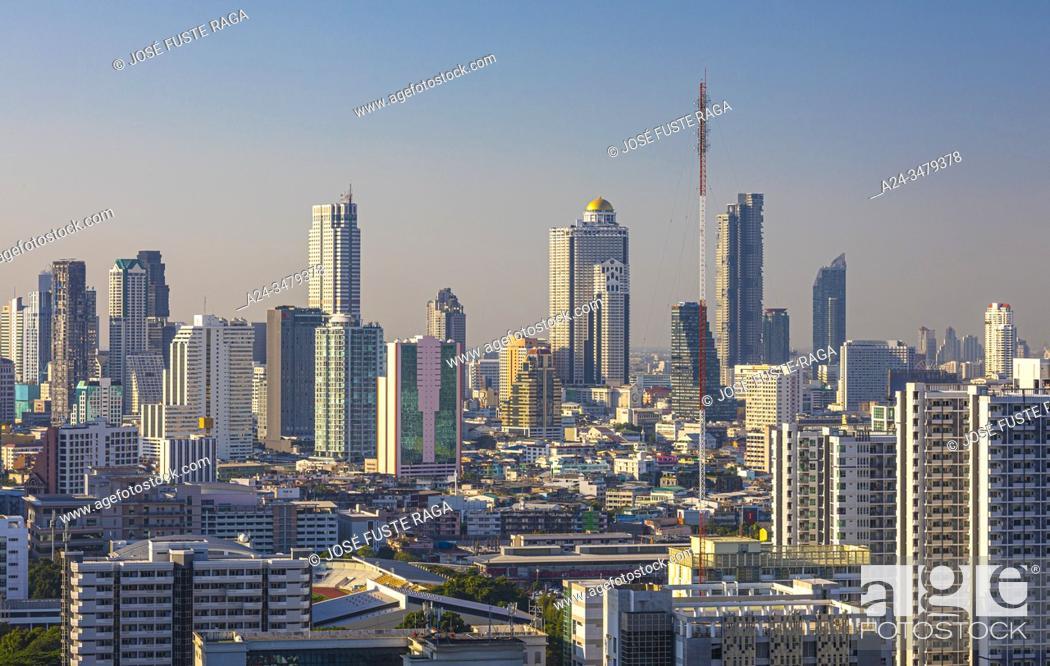 Stock Photo: Thailand, Bangkok City, down town, Bangrak distric sky line.