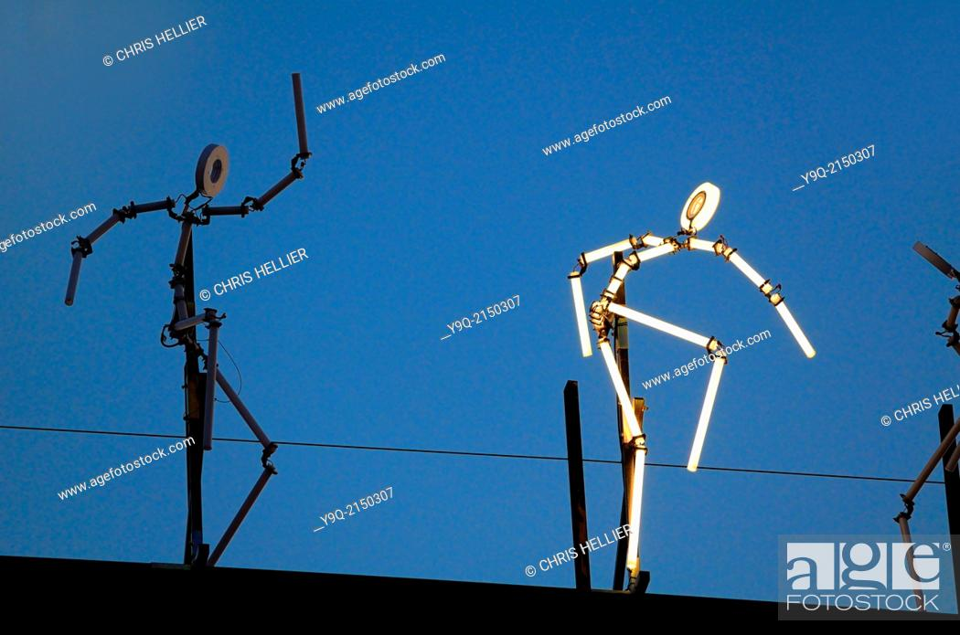 Stock Photo: Light Sculpture of Dancers Keyframes Art Installation Pavillon Noir Aix-en-Provence Provence France.