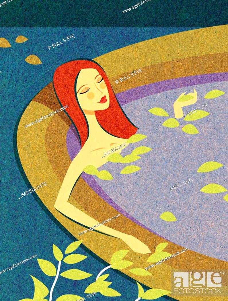 Stock Photo: A woman relaxing in an aquatherapy bath.