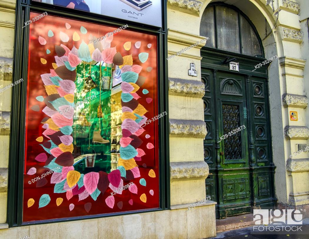 Stock Photo: Downtown Budapest (Pest)- shop windows along, Budapest, Central Hungary, Hungary.