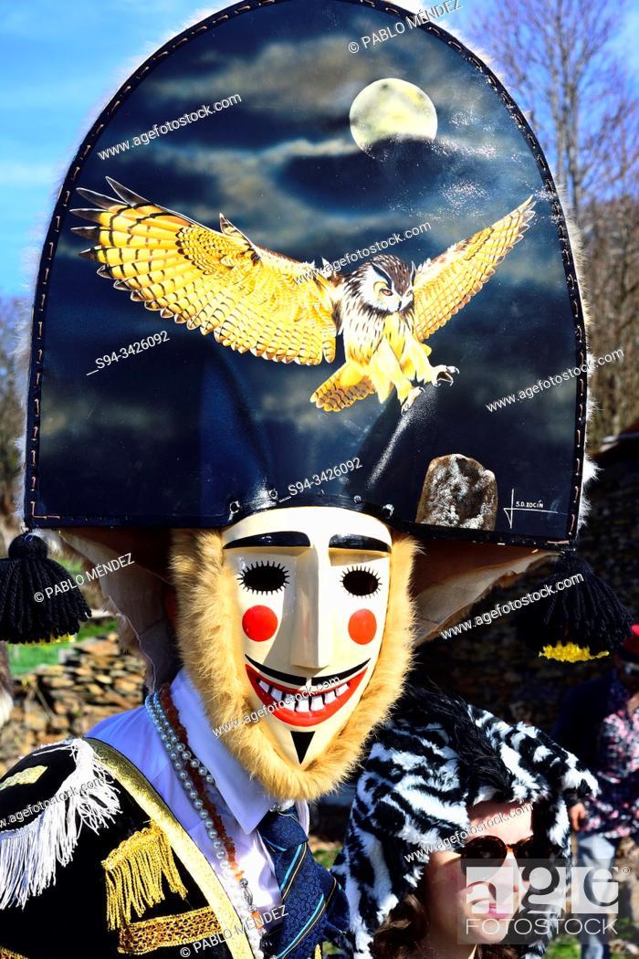 Stock Photo: Felos. Winter masks of Maceda, carnival, Orense, Galicia, Spain.