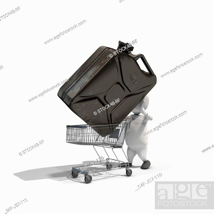 Stock Photo: Anthropomorphic figure putting large fuel can into small shopping cart, CGI.