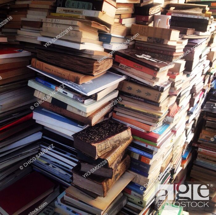 Stock Photo: Books for sale in a second-hand bookstore in Mexico City, Mexico.