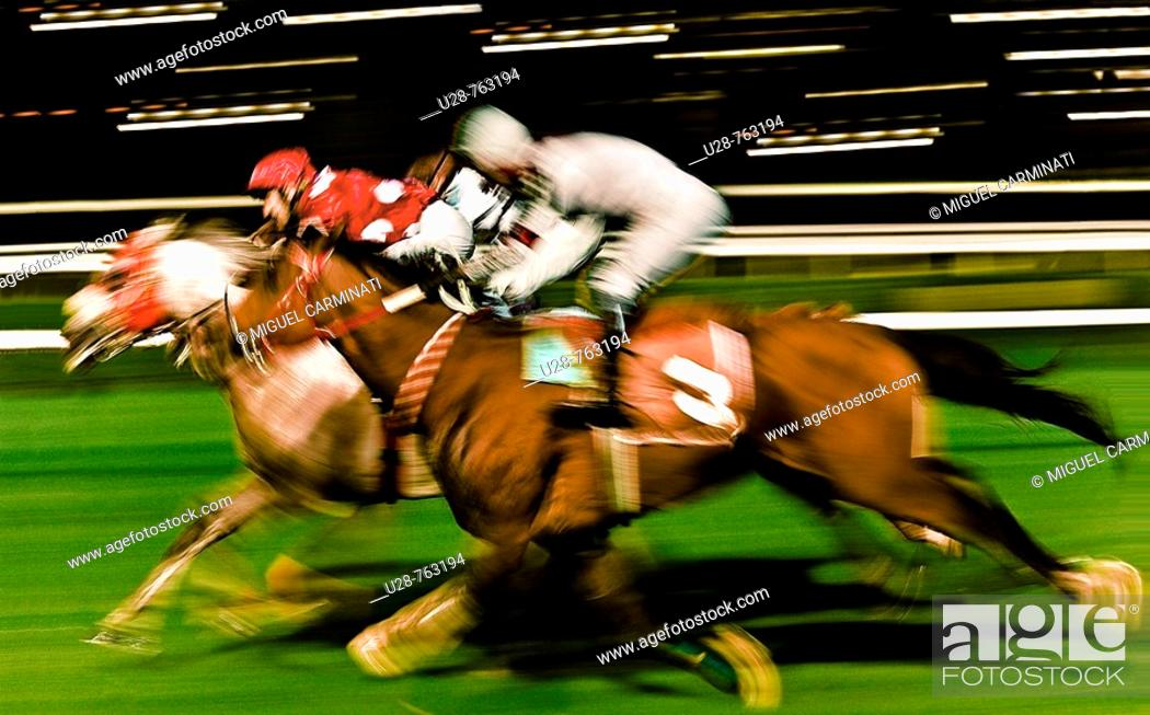Stock Photo: Horse race at racetrack, Istanbul. Turkey.