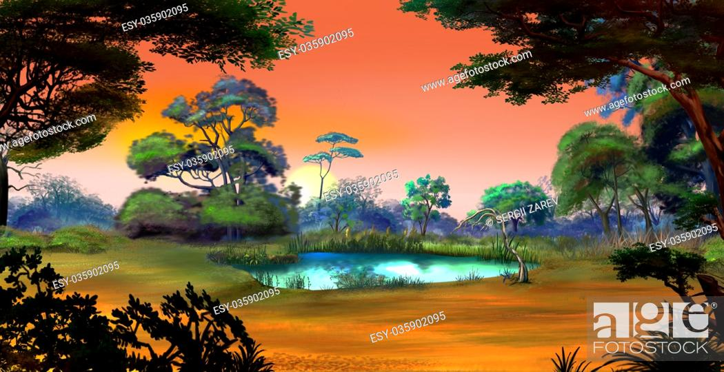 Stock Photo: Idyllic View of the Small Pond on a Forest Glade Surrounded by Trees at Dawn. Digital Painting Background, Illustration in cartoon style character.