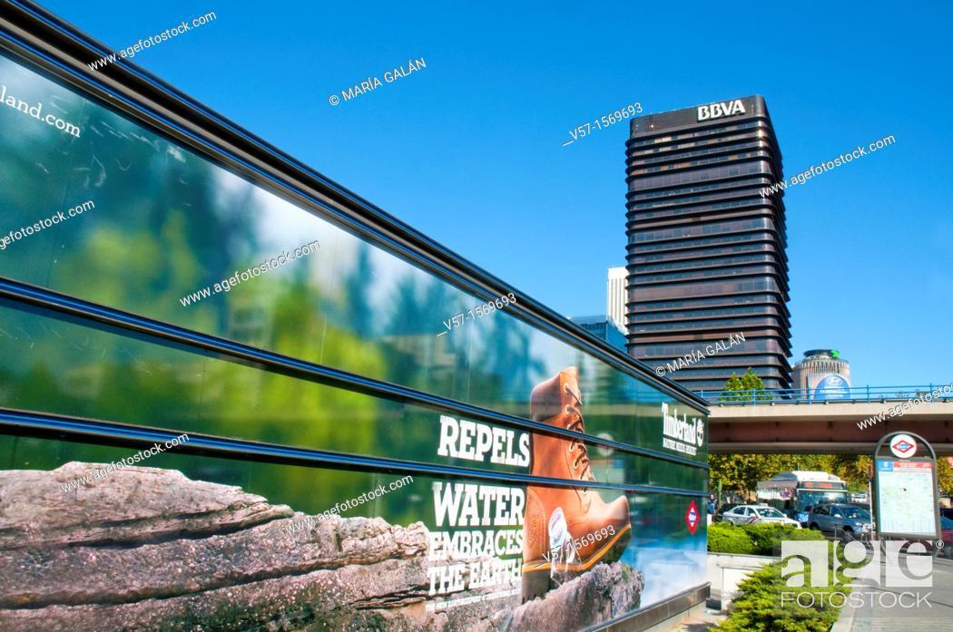 Stock Photo: Advert and view of AZCA from Paseo de la Castellana. Madrid, Spain.