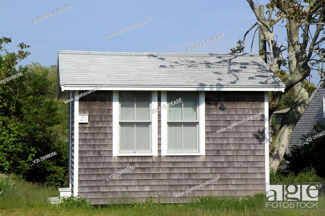 Stock Photo: A tiny cottage in the fishing village of Menemsha, Chilmark, Martha's Vineyard, Massachusetts, United States, North America. Editorial use only.