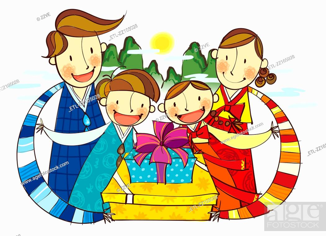 Stock Photo: Family portrait with gifts boxes.