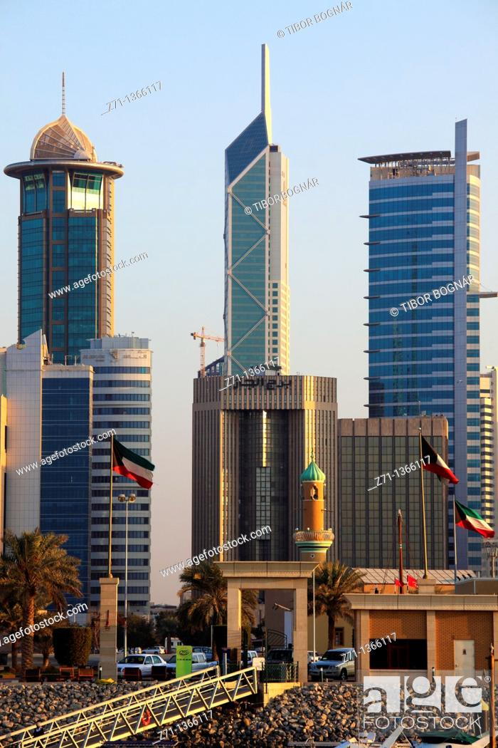 Stock Photo: Kuwait, Kuwait City, skyline, skyscrapers,.