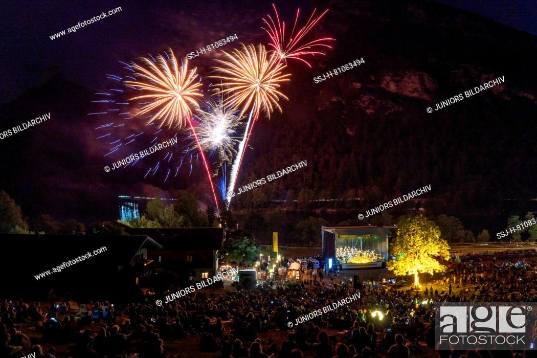Stock Photo: Open Air Concert of the Philharmonie Bad Reichenhall at Lake Thumsee near Bad Reichenhall with huge fireworks, Berchtesgaden, Germany.
