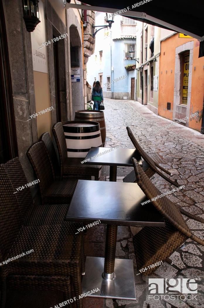 Stock Photo: Sidewalk Cafe on the street, Llanes, Asturias, Spain.