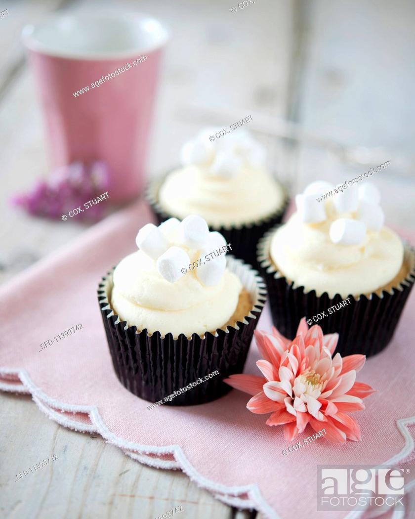 Stock Photo: Vanilla cupcakes decorated with and marshmallows.