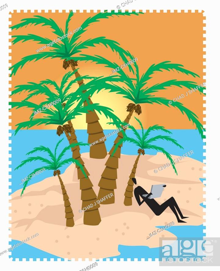 Stock Photo: A person checking emails on an island.
